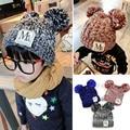 2016 Baby Kint Hat Korean New Unisex Baby Boy Girl Children Dual Ball Knit Sweater Cap  Winter Star Hats  Beanies Accessories