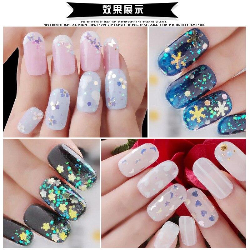 1 Box Transparent Blau Nagel Pailletten Glänzende Glitter Formen Tipps Maniküre Nagel Glitters Pailletten Dekorationen Werkzeuge Schönheit & Gesundheit