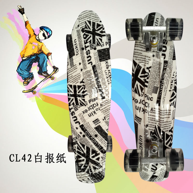 ФОТО New Original 22Inch completed Mini Skate board With News paper pattern for Skaters to Enjoy the skateboarding Mini rocket board