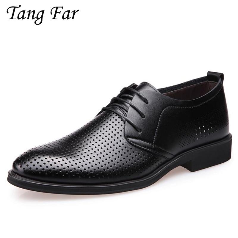 Large Size Leather Shoes Sandals Men Lace Hole Low Top Flat Shoes Big Yards 39-46 Casual Sandalias Black Brown