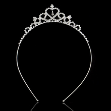 Childrens Day Crown Hair Accessories Baby Girls Heart Shaped Rhinestone Crystal Decor Headband Party Veil Tiara New Hot