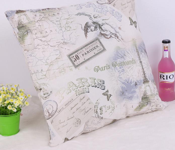 Paris Pillow Maps France God Buildings Postcards Emoticon Throw