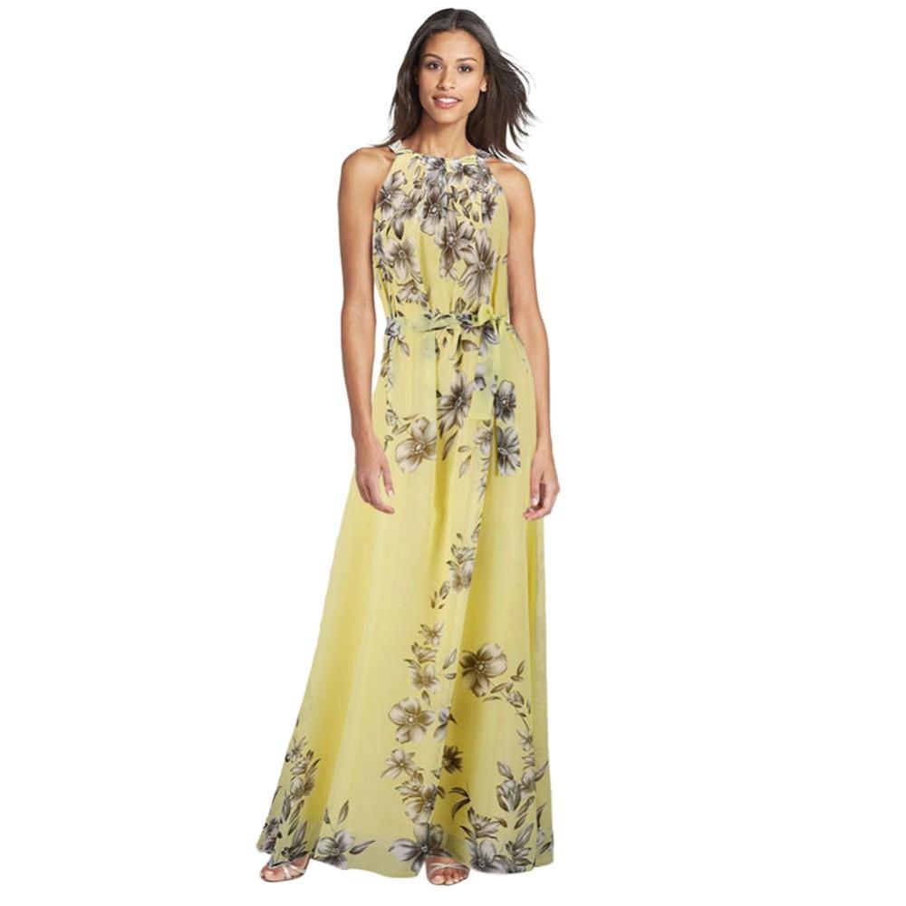Женское платье с цветочным принтом, длинное шифоновое платье большого размера