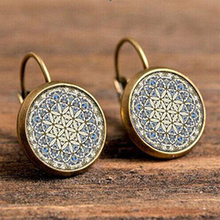 Vintage Resin Cabochon Flower Pattern Big Hanging Earring Women Vintage Gray Beauty Round Indian Ear Pendant Brincos Jewelry vintage kaleidoscope flower drop earring for women blue purple indian mandala pattern round eardrop wholesale brincos 2018