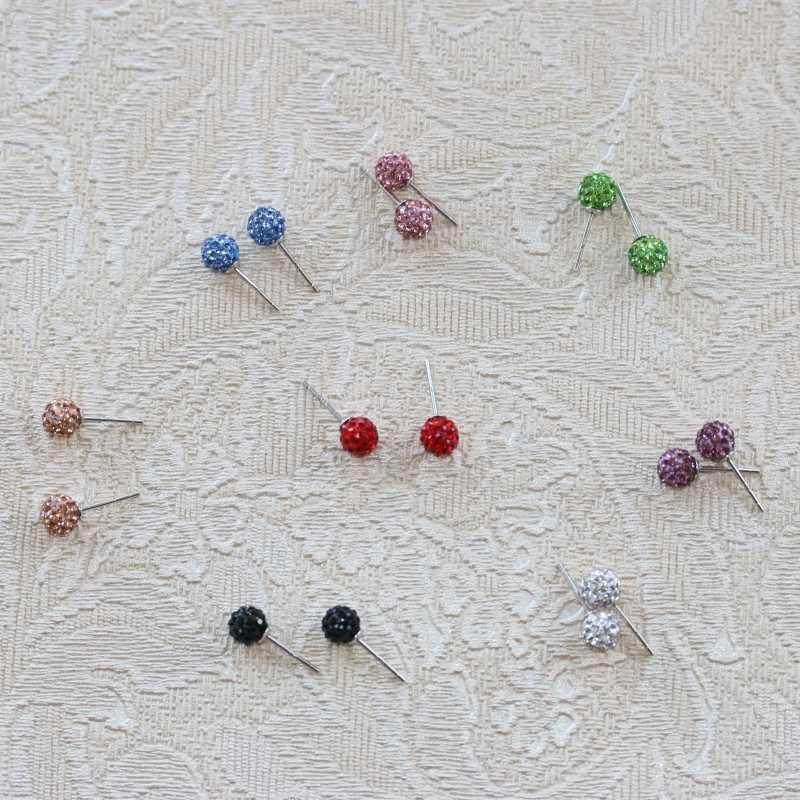 RE Sterling 925 6MM 8MM Trendy Brand Stud Earrings Disco Pave Ball Crystal Earrings For Women Wholesale Fashion Jewelry J35