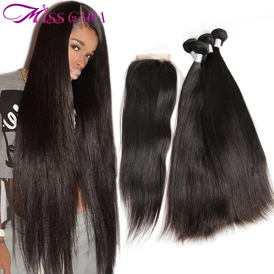 Brazilian Straight Hair With Closure 100 Human Hair Bundles With Middle Free Part Closure Miss Cara
