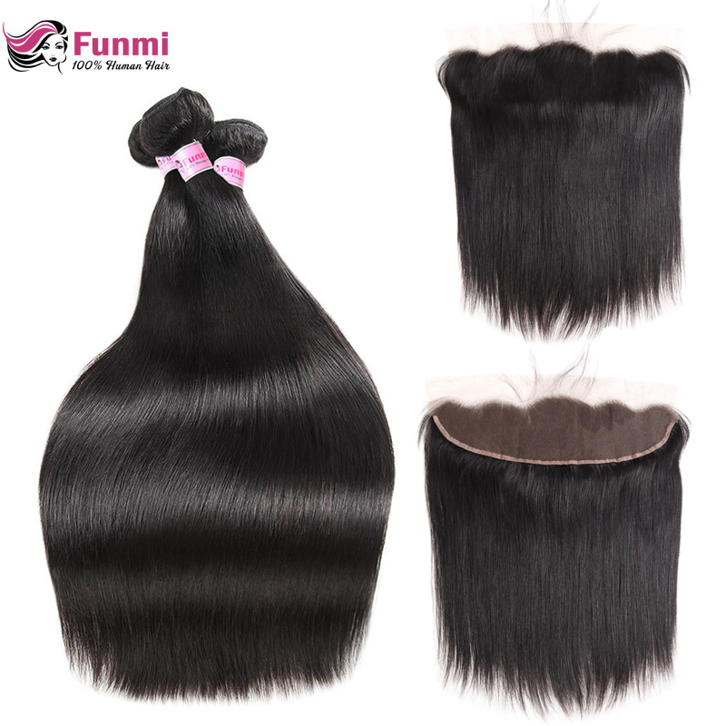 Funmi Malaysian Straight Hair Bundles With Frontal 3 Bundles With Frontal Virgin Human Hair Lace Frontal Closure With Bundles