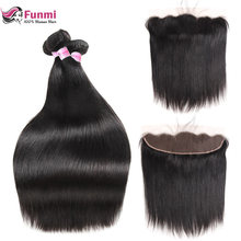 Funmi Malaysian Straight Hair Bundles With Frontal 3 Bundles With Frontal Virgin Human Hair Lace Frontal Closure With Bundles(China)