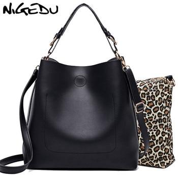 6cbcda4933ed NIGEDU дизайнерские женские сумки модные из искусственной кожи в форме  ведерка сумка для женщин сумки через плечо повседневные комплект сумок.