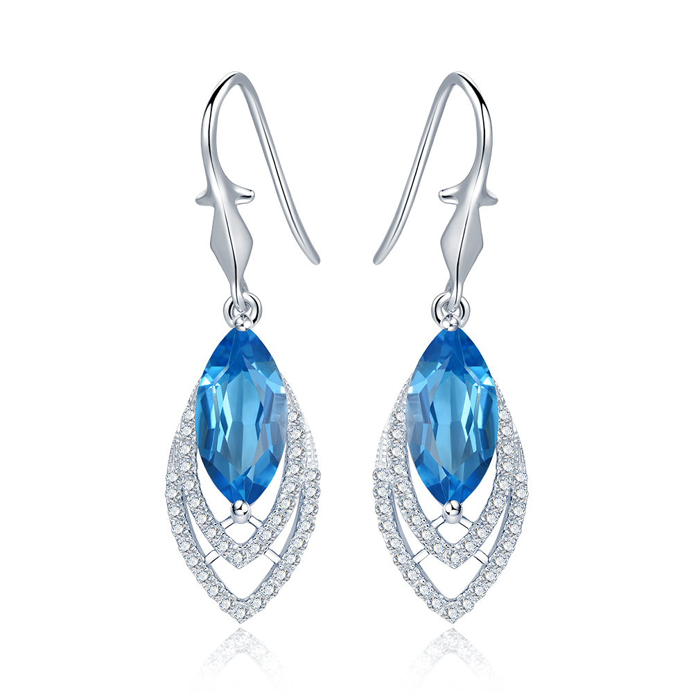 Diva 50ct Natural Swiss Blue Topaz Sterling Silver Feather Dangle Earrings