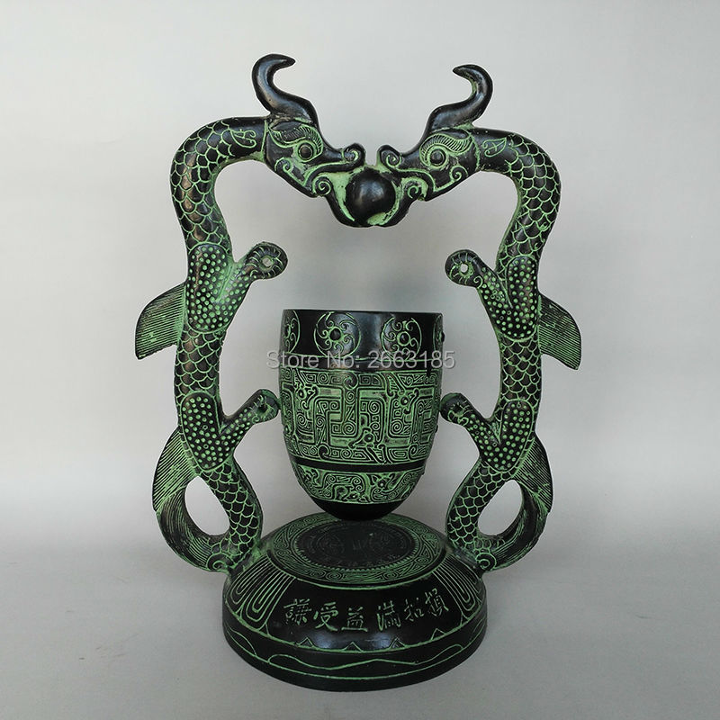 Free shipping Hmoe Decoration Chinese Antique Bronze Double Dragon Hourglass Timer Bell Stand Family Figurine Craft