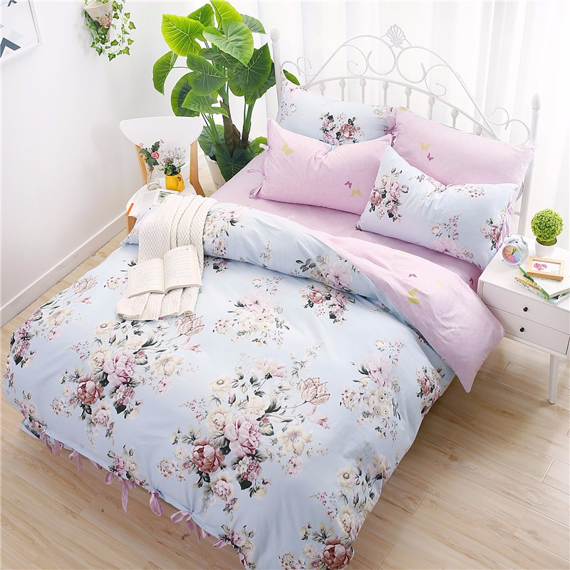 4pcs 100 cotton floral girls bedding set queen size pink flowers bed linen bed