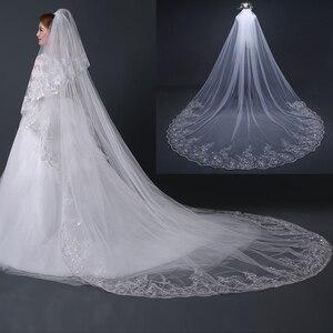 Image 3 - 4 מטר לבן שנהב קתדרלת חתונת רעלות ארוך התחרה Edge כלה רעלה עם מסרק כלה כלה אביזרי רעלה