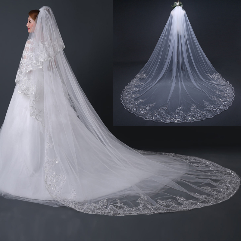 4 Meter White Ivory Cathedral Wedding Veils Long Lace Edge Bridal Veil with Comb Wedding Accessories Bride Veu Wedding Veil-in Bridal Veils from Weddings & Events