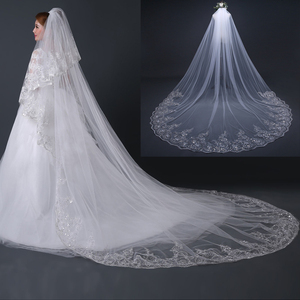 Image 3 - 4 Meter White Ivory Cathedral Wedding Veils Long Lace Edge Bridal Veil with Comb Wedding Accessories Bride Wedding Veil