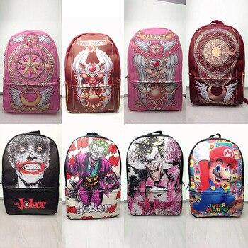 حقيبة ظهر مدرسية للفتيات من Sakura مزودة ببطاقة ساكورا وسوبر ماريو بلون وردي حقيبة مدرسية بسعة كبيرة من الجلد الصناعي للطالبات