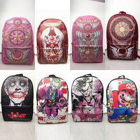 Pink Lady Card Captor Sakura Backpack Girl Magic Card Sakura Super Mario School Bags Student PU Leather Large Capacity Schoolbag