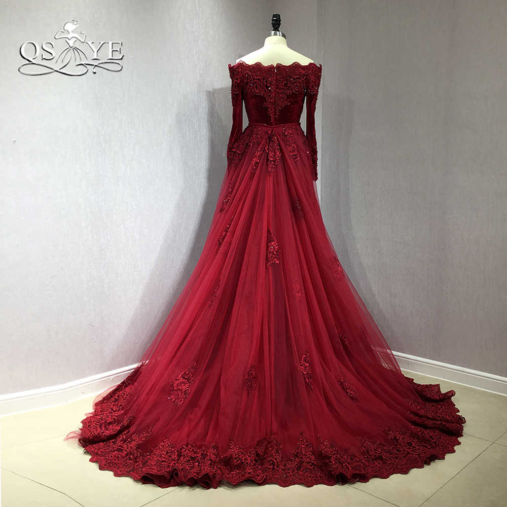 cbe3f1c27a QSYYE 2018 Burgundy Velvet Long Mermaid Prom Dresses Off Shoulder Long  Sleeve Lace Beaded Detachable Train