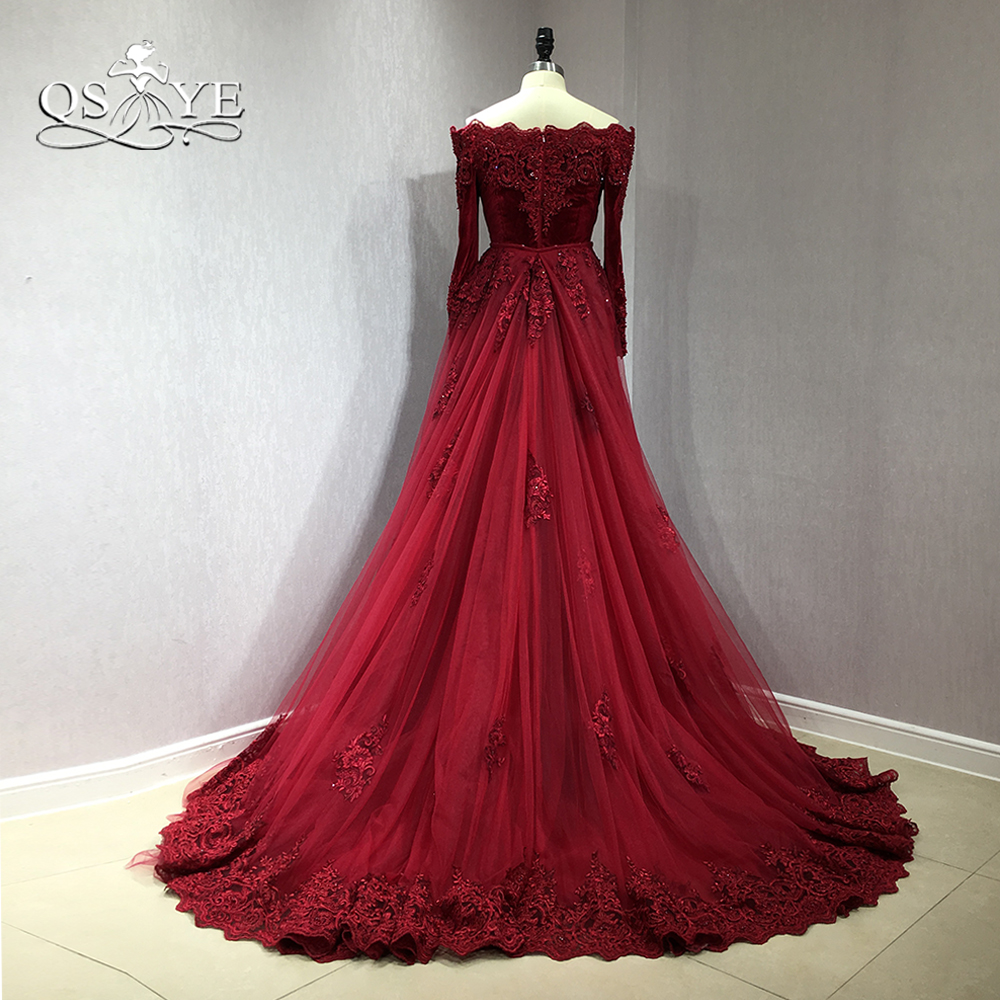 QSYYE 2018 Burgundy Velvet Long Mermaid   Prom     Dresses   Off Shoulder Long Sleeve Lace Beaded Detachable Train Formal Evening   Dress