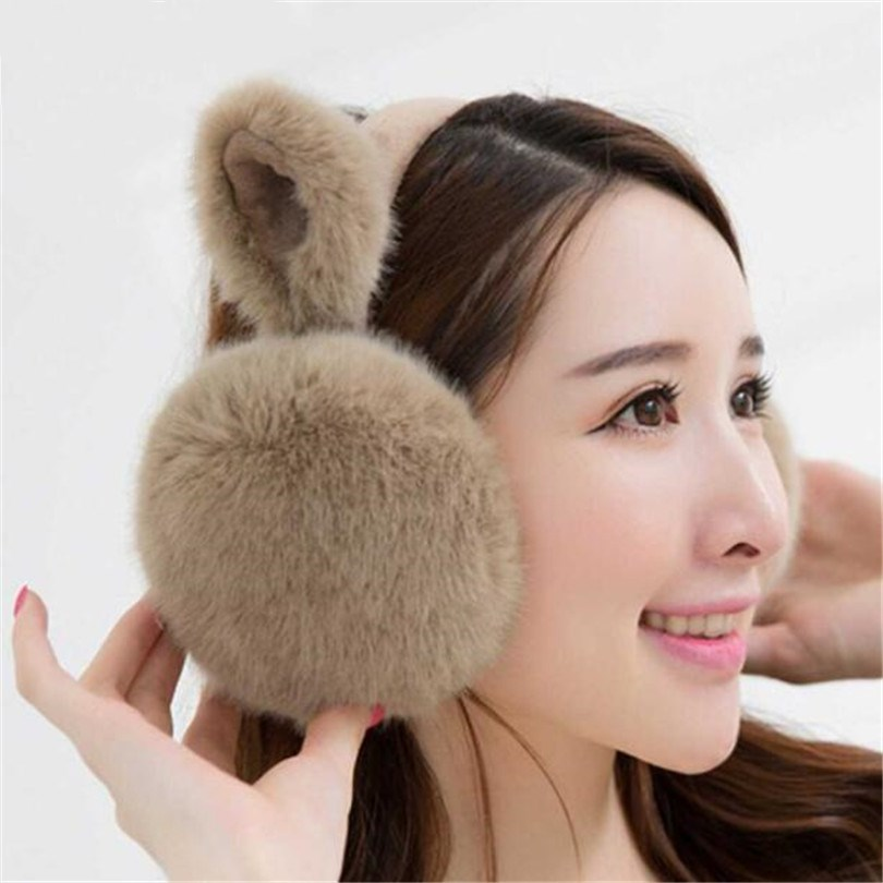 VISNXGI Fashion Women Girl Fur Winter Ear Warmer Earmuffs Cute Cat Ear Muffs Earlap Winter Faux Fur Earmuffs Headband Newest