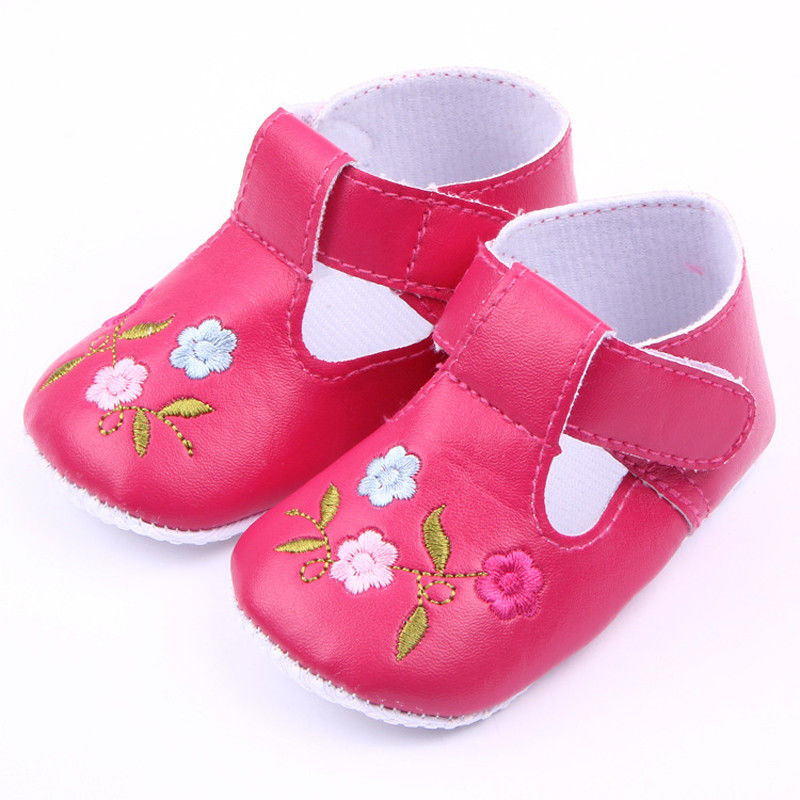 Baby Boy Girl Soft Floral Shoes Hot Sale Baby Boy Girl Sole Leather First Walkers 2017 New Kids Bebes Flower Crib Shoes 3-12M