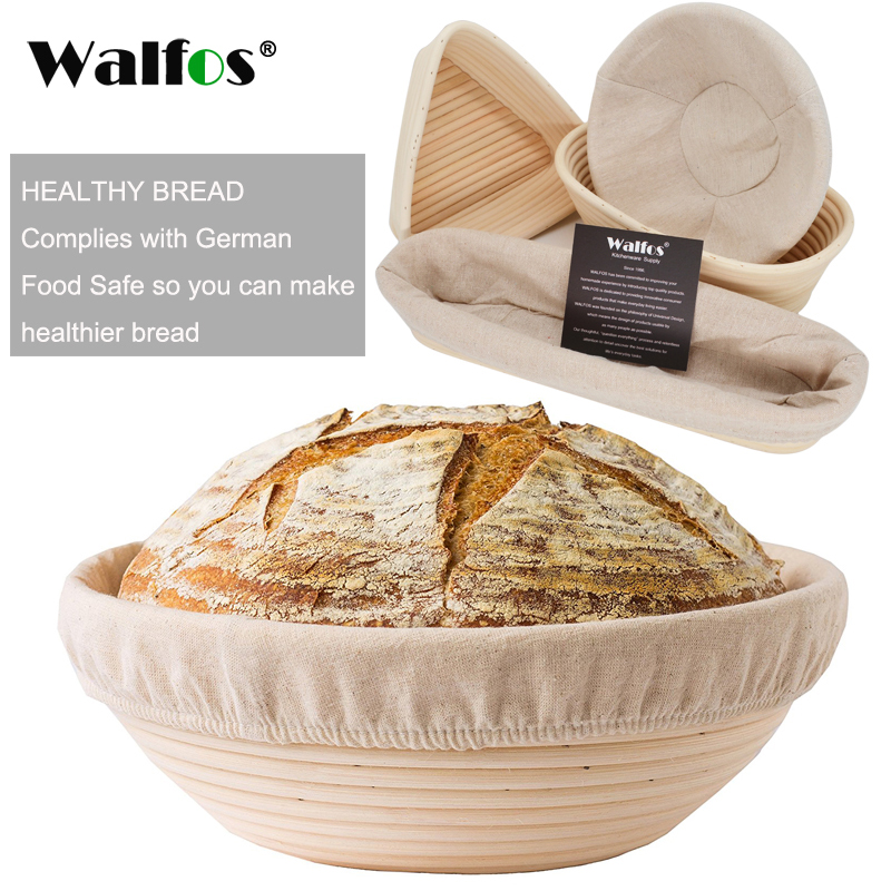 WALFOS  Natural Rattan Fermentation Wicker Basket Country Baguette French Bread Mass Proofing Baskets Dough Banneton Baskets|Baking & Pastry Tools| |  - title=
