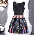 Novo 2017 mulheres do vintage sexy moda casual verão magro dress impressão floral sem mangas plus size vestidos de festa vestidos de festa vestidos