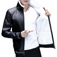 2019 Explosion Models Short Cotton Coat Leather One Men's Cotton Coat Men's Leather PU Leather Jacket Men's Plus Velvet Jacket
