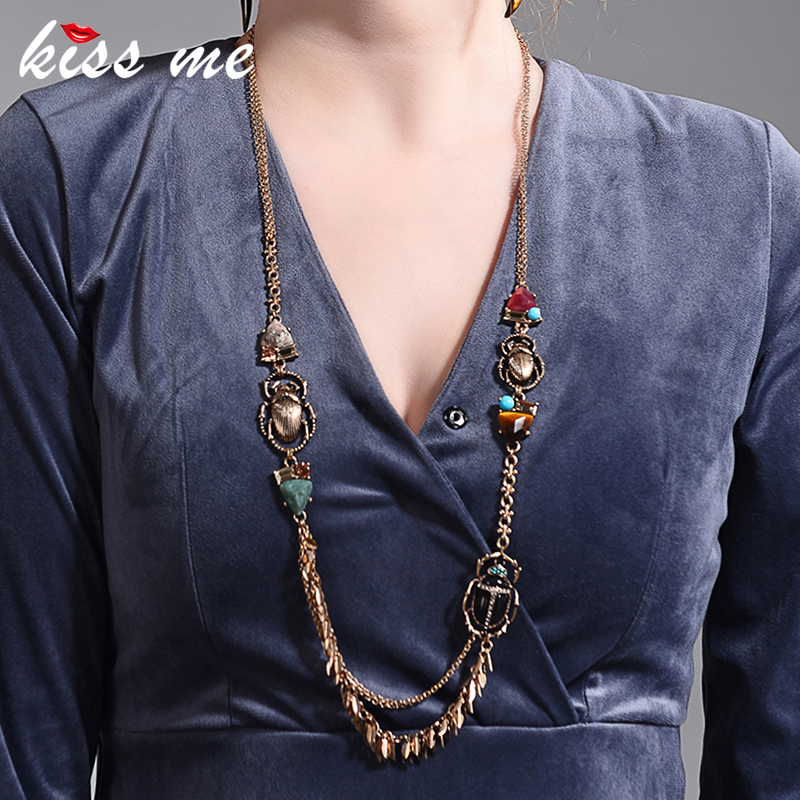 KISS ME New Insect Long Necklace 2018 Trendy Alloy Vintage Necklaces