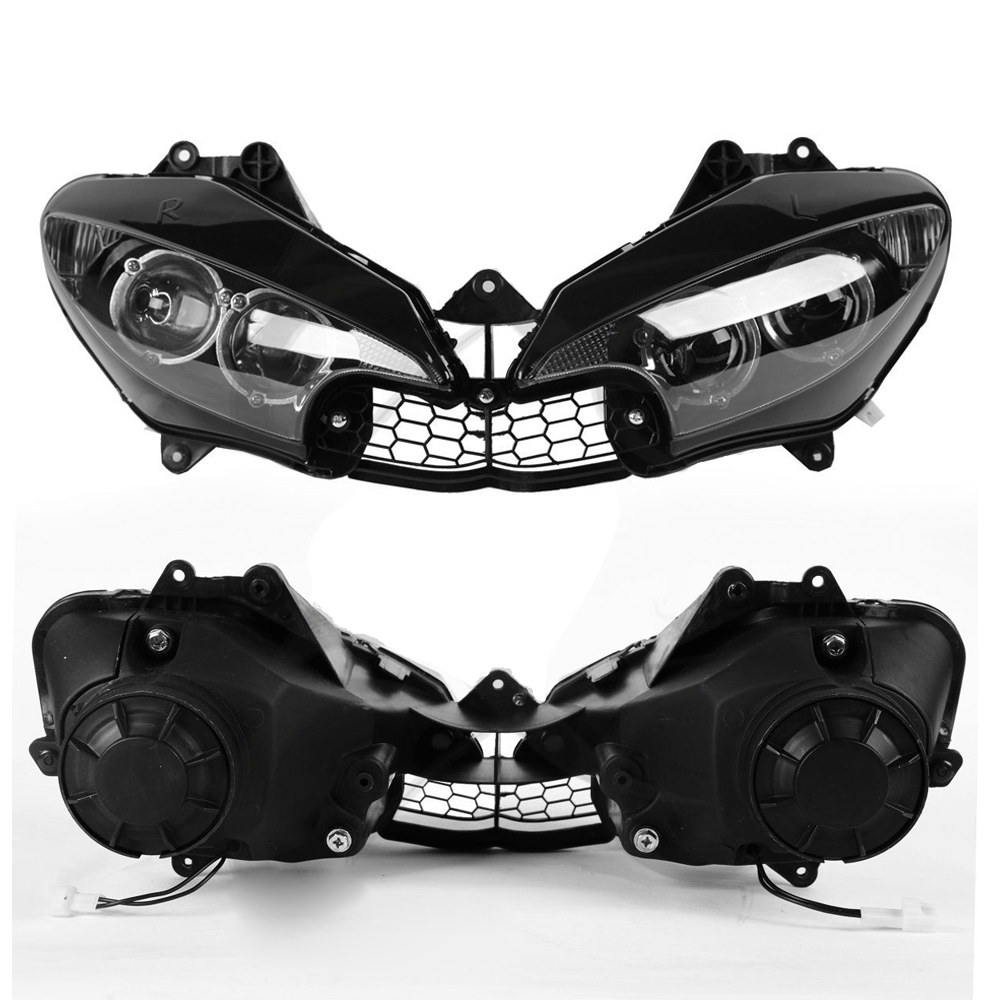 Headlight Fit YAMAHA YZFR6 YZF R6 YZF-R6 2003 2004 2005 Motorcycle YZF R6S YZFR6S 2006 - 2009 Front Head Light Headlamp Assembly motorcycle front headlight headlamp support bracket upper fairing cowling stay holder for 2003 2004 2005 yamaha yzf r6 rj05 rj09