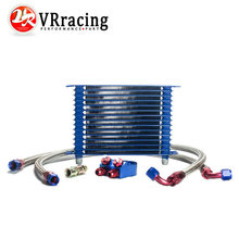 VR RACING BLUE 15 ROW AN 10AN UNIVERSAL ENGINE OIL COOLER KIT ALUMINUM HOSE END KIT