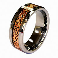8mm White Engagement Tungsten Ring Rose Gold Color Celtic Dragon Carbide Carbon Fiber Band Wedding Couple Rings