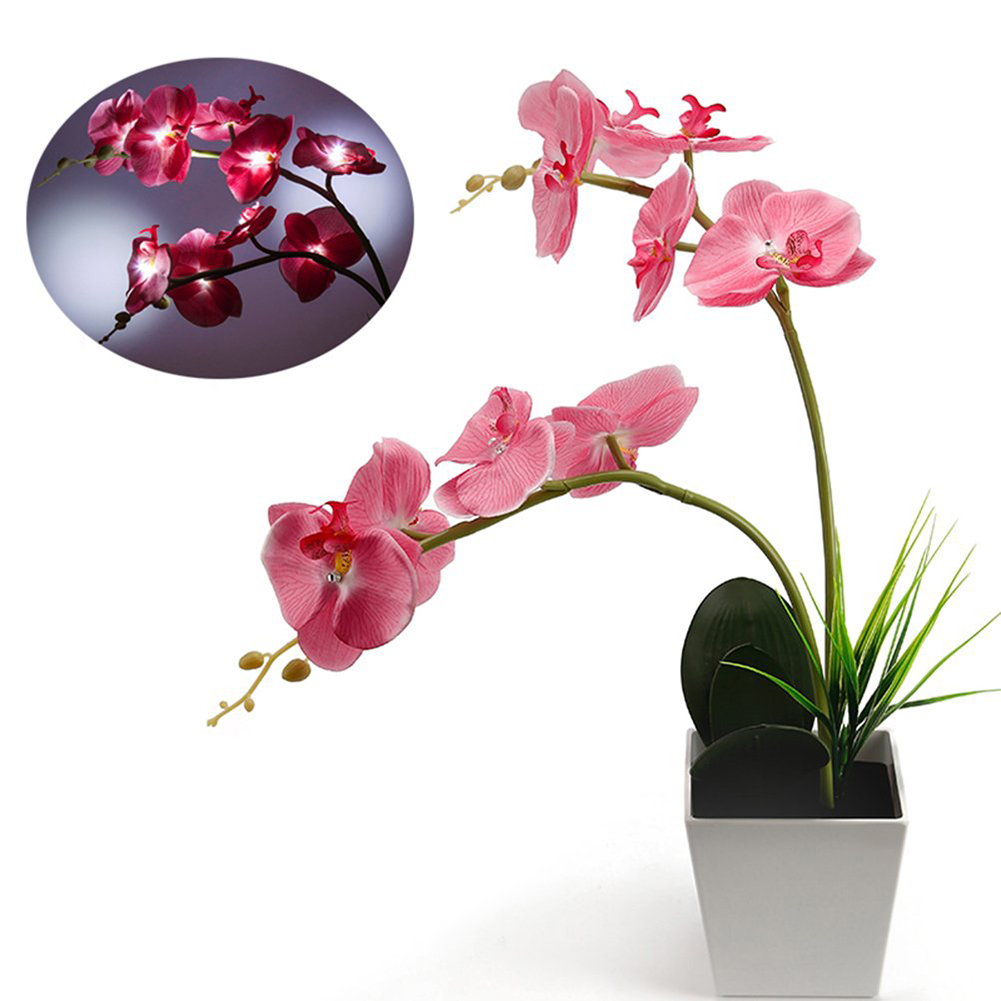 Led Lamps Led Table Lamps Decoration Artificial Potted Balcony Led Light Lighted Energy Saving Blossom Battery Operated Garden Home Orchid Flower Table