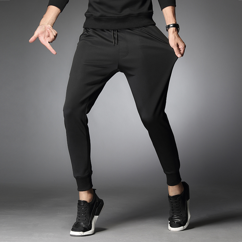 Spring Running Pants for Men Fitness Sports Gym Elastic Drawstring Sweatpants Training Jogging Exercise Slim Fit Trousers 2018