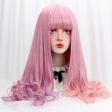 28''Purple Pink Ombre Long Wavy Synthetic Lolita Wig With Bangs Heat Resistant Friber Cosplay Lolita Wigs For Women Density 150%(China)
