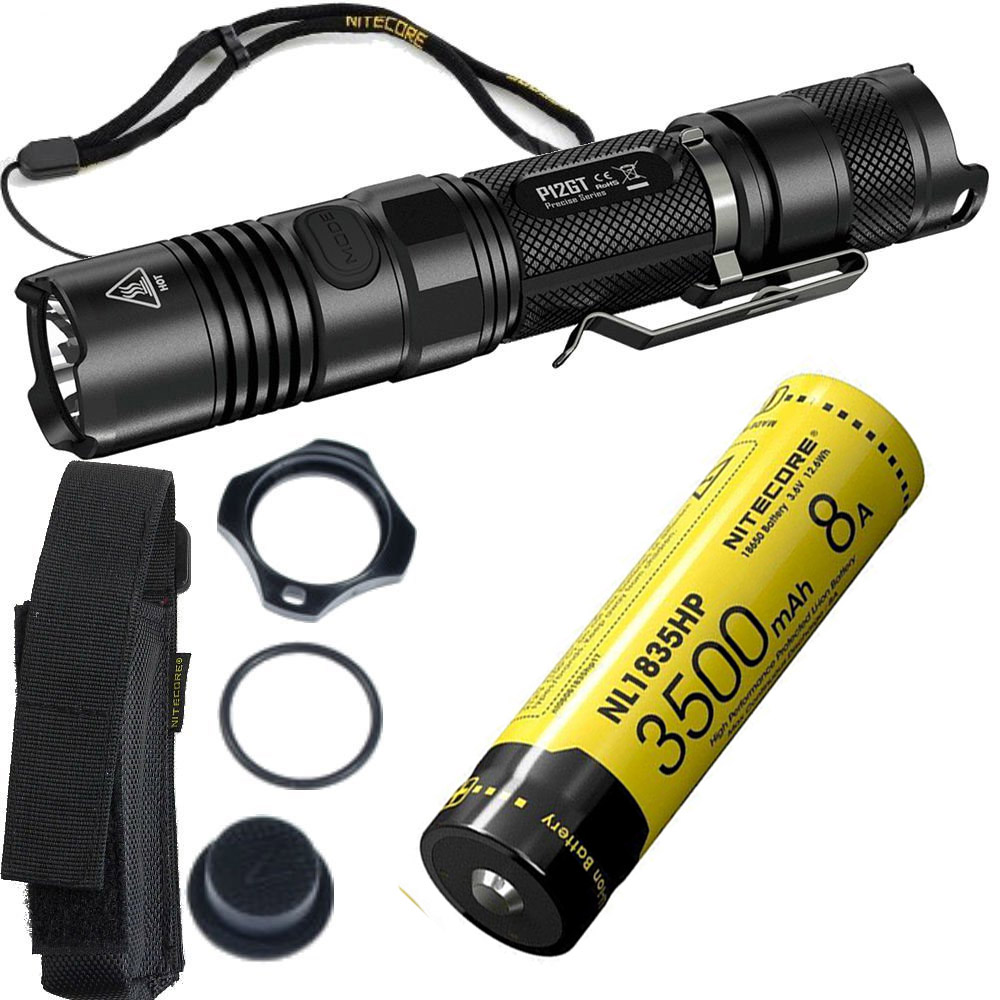 NITECORE P12GT Tactical Flashlight black CREE XP-L HI V3 LED max 1000LM beam distance 320 meter outdoor torch handheld light tactical flashlight jetbeam iim black cree xp l hi led max 1100 lumens distance up to 230 meters waterproof torch for outdoor