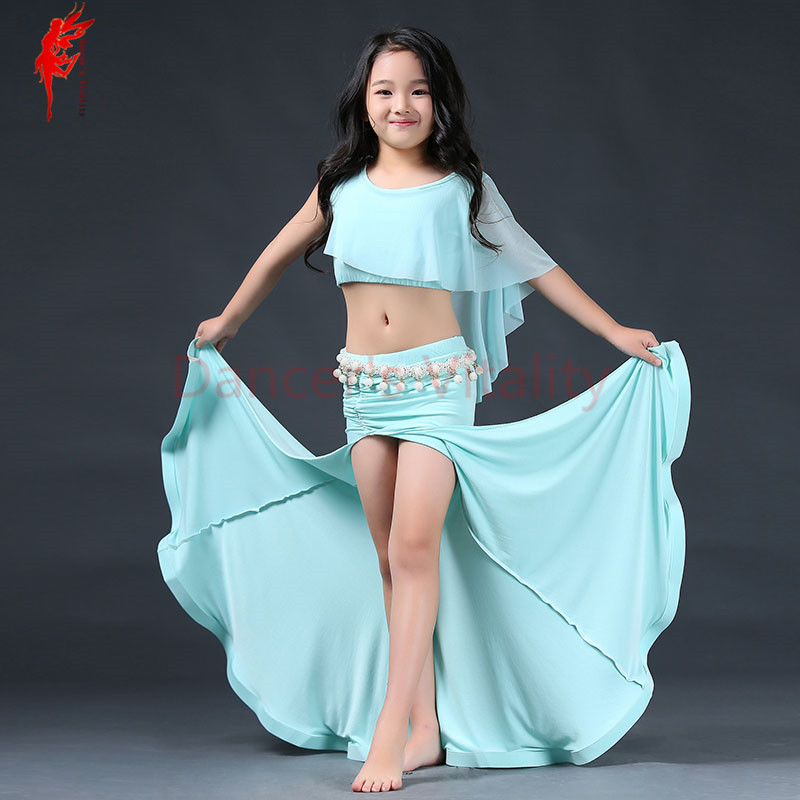 Child Lovely Belly Dance Clothes  Girls Belly Dance Clothes 2pcs(modal Top+lace Skirt) Girls Belly Dance Suit 3 Colors S/L