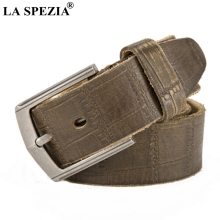 LA SPEZIA Brand Belt Men Genuine Leather Pin Buckle Belts Male Luxury Vintage Army Green Real Cow Apparel  Accessories