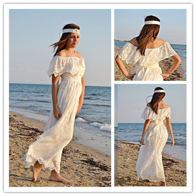 mansa 70s bohemian wedding dress ivory lace vintage strapless