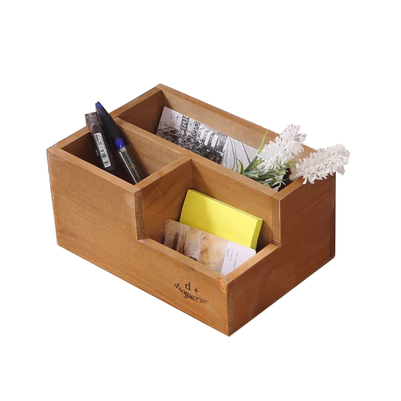 Vintage Desktop Organizer Pen Container Sundries Storage Box Wood Makeup Organizador Flower Planting Pot Wooden Storage Holder
