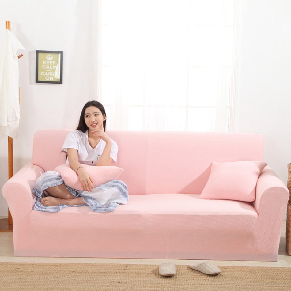 Sweet Pink Universal Stretch Sofa Covers For Home Elastic Couch Sofa Slipcovers Knitted Fabric Anti-slip Corner Sofa Covers