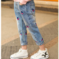 new 2016 fashion brand Children's jeans cherry jeans for baby girls cute leggings kids denim pants 2-12Y Free shipping autumn