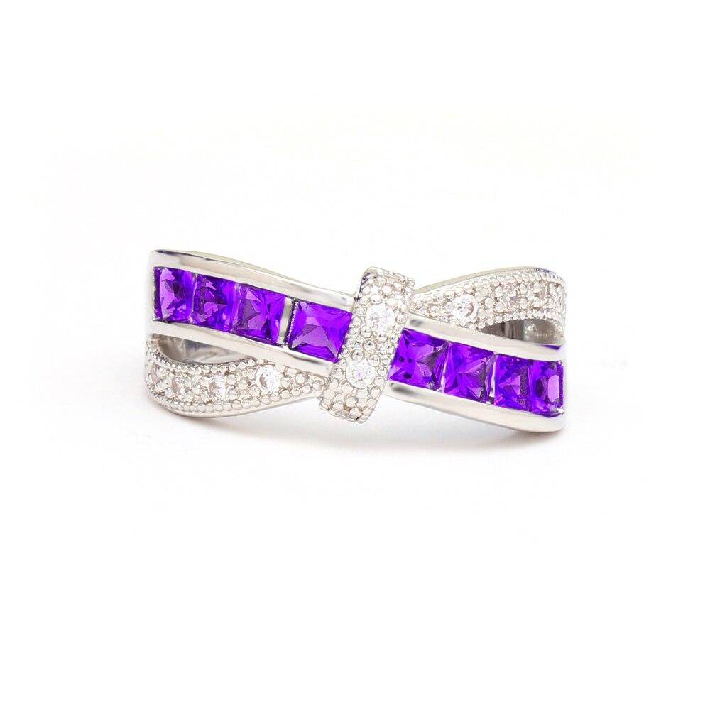 Fashion Women Cross Finger Ring Zircon Rhinestone Princess Rings Wedding Engagement Jewelry Gifts KQS8