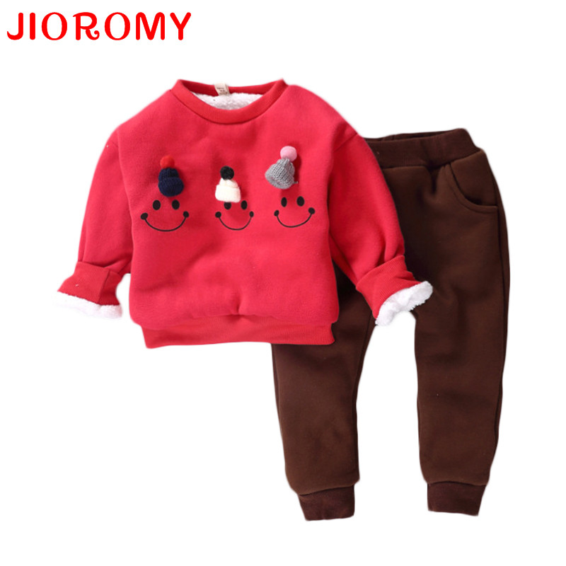 JIOROMY Children Sets Baby Girls& Boys Clothing Set Thick Warm Cute Suit Kids Winter Long Sleeved Coat+Pants Kids Clothes Set 2015 spring fall boys girls long sleeved sports suit kids fashion cartoon splicing casual clothes set children coat pants y417