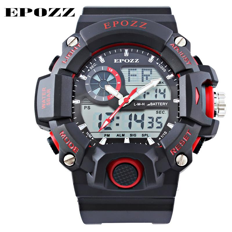 Prix pour Top marque de luxe Epozz rouge G Style rond grand cadran numérique japon mouvement flèche reloj hombre 2016 qualité montre hommes heures