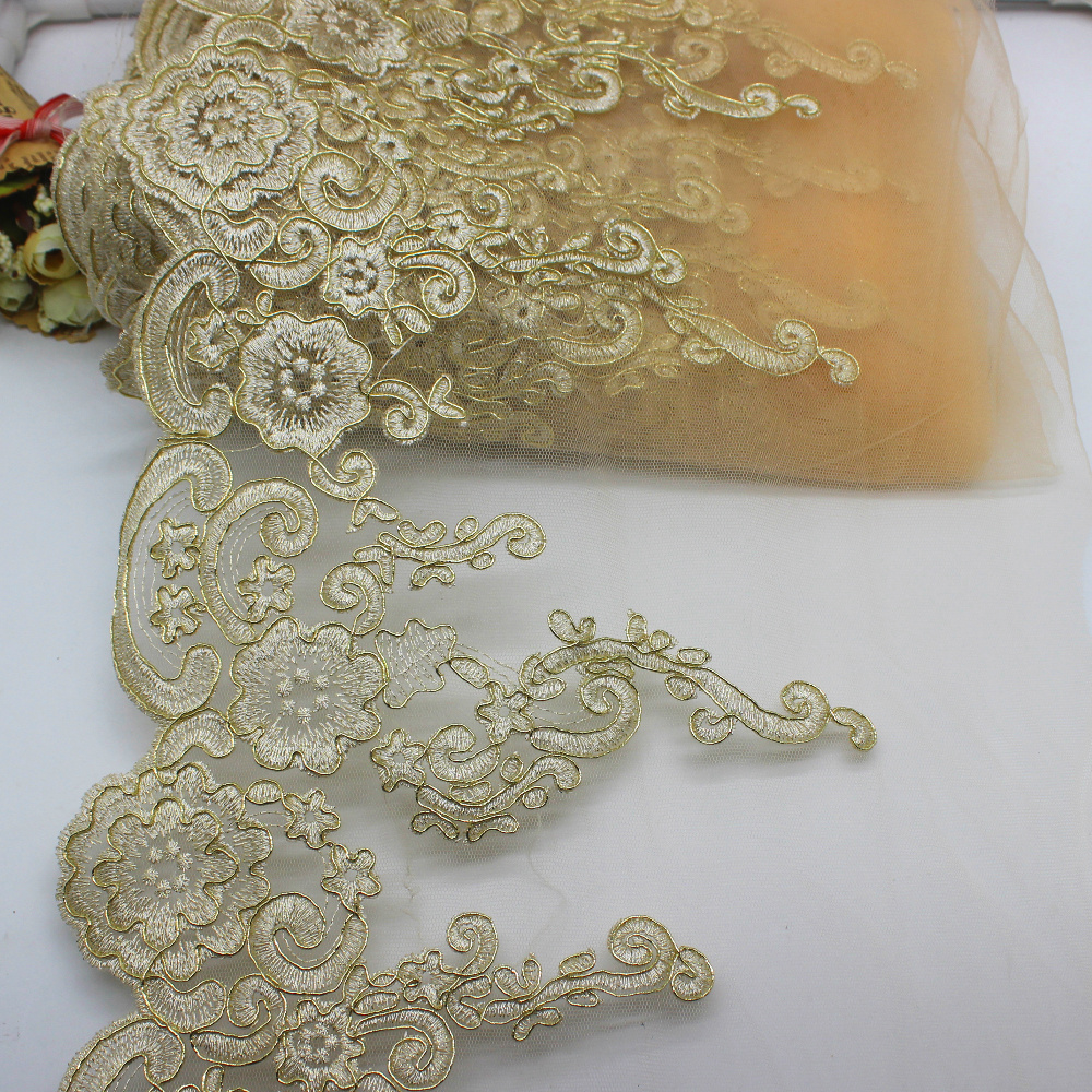 3 MTR LIME GREEN SCALLOPED EMBROIDED SEQUENCE CRYSTAL BRIDAL LACE NET FABRIC