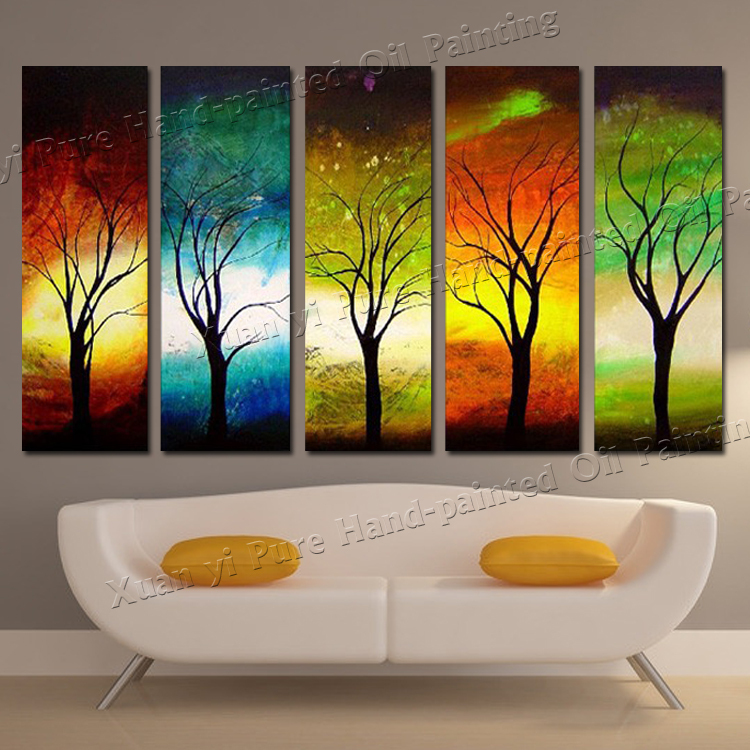 Aliexpress.com : Buy Hand painted 5 Panel Wall Art Canvas ...