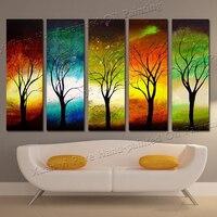 Handgemalte 5 Panel Wandkunst Leinwand Saison Baum Wandkunst bilder Abstrakte Ölgemälde Für Wohnzimmer Wand Kein Gestaltet XY109