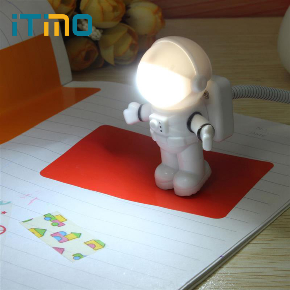 Mini Reading Lamp USB Tube For Computer Laptop PC Notebook Pure White Portable Spaceman Astronaut LED Night Light Adjustable hot sale multicolor usb led bulb dc5v 5w 10 led 5630 smd ball camp night light reading lamp for notebook laptop pc pure white