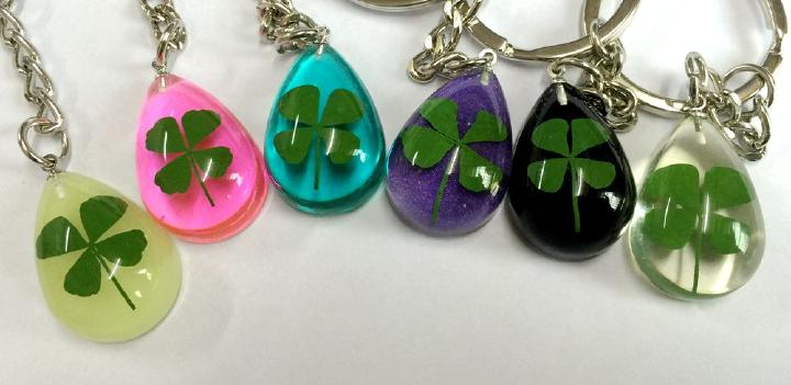 FREE SHIPPING 24 pcs Real shamrock mixed drop Wedding Gift real four leaf clover keychain in Key Chains from Jewelry Accessories